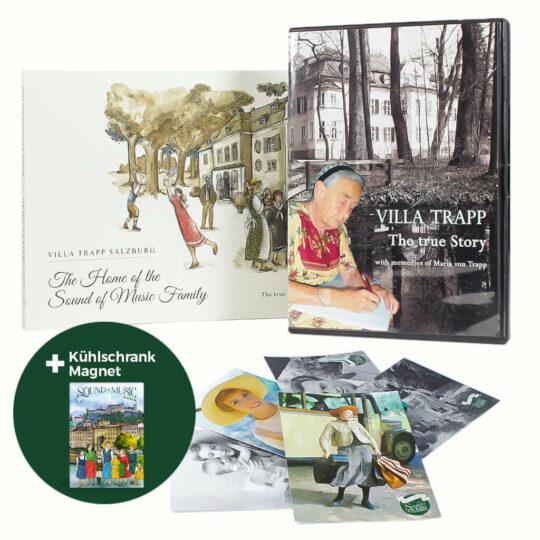 Villa Trapp DVD, Kühlschrankmagnet, Postkarten und Villa Trapp Buch