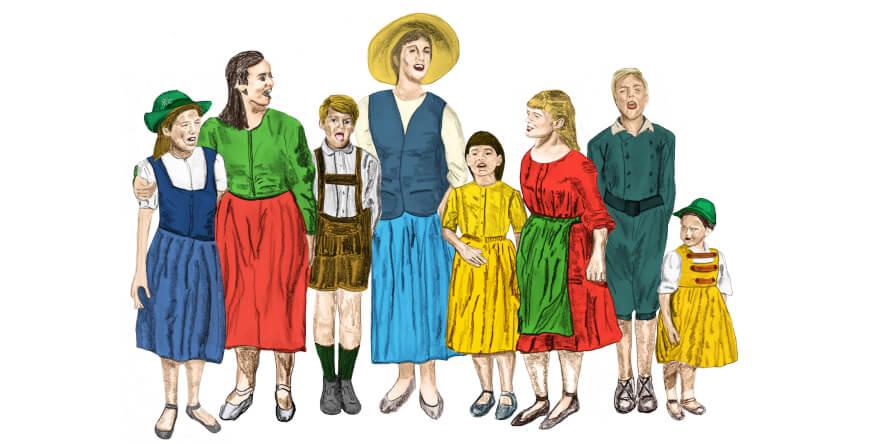 Maria von Trapp mit Kindern